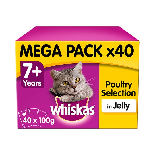 image 1 of Whiskas 7+ Jelly Poultry Cat Senior Pouches 40 X100g
