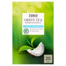Tesco Green Tea With Coconut 20 Bags 40G
