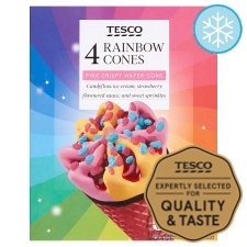 Tesco Rainbow Ice Cream Cones 4X110ml