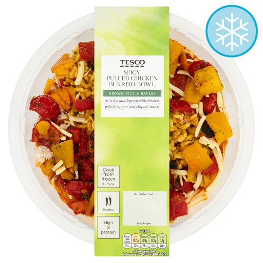 Tesco Spicy Pulled Chicken Burrito Brown Rice Bowl 400G