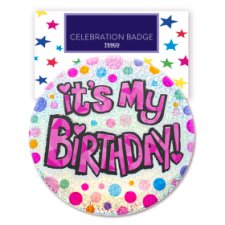 Tesco Large Birthday Pink Badge