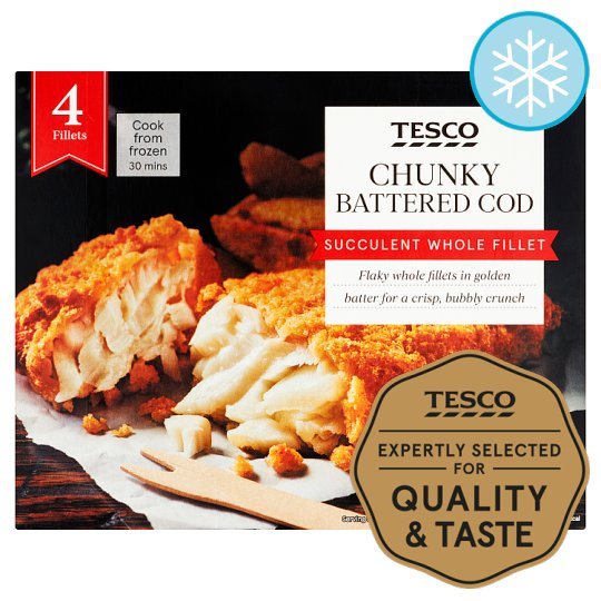 Tesco 4 Battered Chunky Cod Fillets 500G