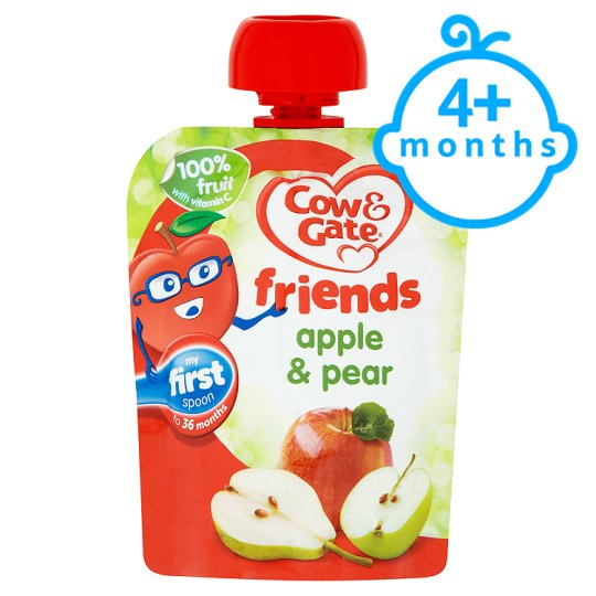 Cow & Gate Apple And Pear 100% Fruit Pouch 80G 4 Mth+