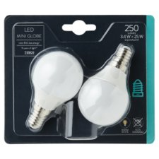 Tesco Led Mini Globe 25W Small Edisonscrew 2 Pack
