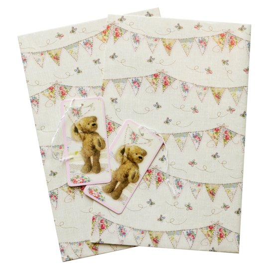 Tesco Vintage Bear And Bunting 2 Sheets 2 Tags