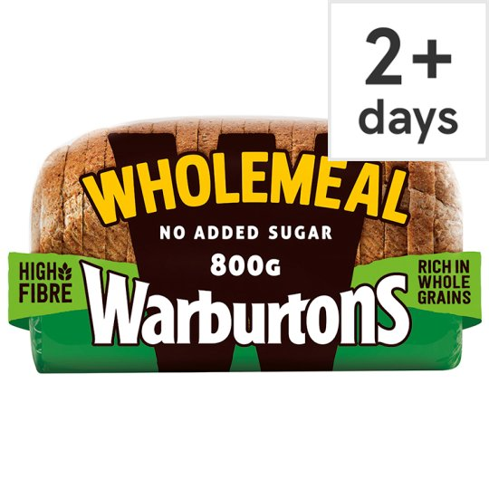 Warburtons Wholemeal Medium Bread 800G