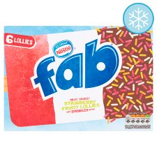 Nestle Fab Strawberry Ice Lollies 6 X 58Ml