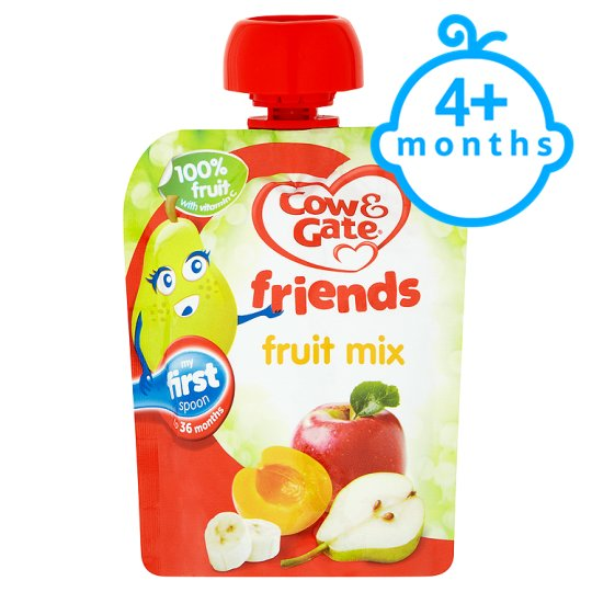 Cow & Gate Fruit Mix 100% Fruit Pouch 80G 4 Mth+