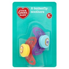 Tesco Loves Baby Butterfly Soother 6-18Mth X2