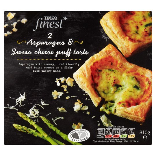Tesco Finest 2 Asparagus And Swiss Cheese Puff Tarts 310G
