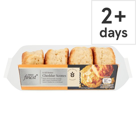 Tesco Finest 4 Cornish Butter And Cheddar Scones