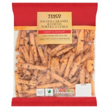 Tesco Salted Caramel And Cocoa Tortilla Curls 190G
