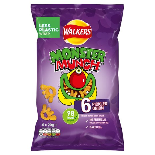 Mega Monster Munch Pickled Onion Snacks 6 X 22 G