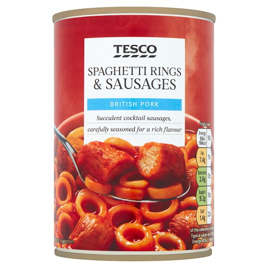 Tesco Spaghetti Rings Sausages In Tomato Sauce 410G
