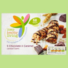 Tesco Healthy Living 5 Chocolate & Caramel Cereal Bars 105G
