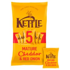 Kettle Mature Cheddar And Red Onion Crisps 5X30g