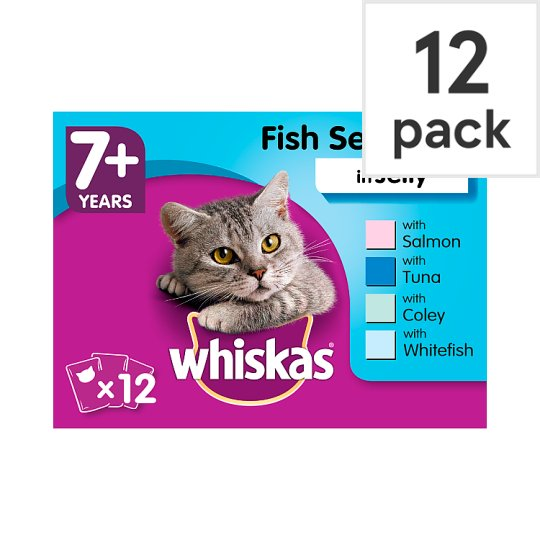 image 1 of Whiskas 7+ Fish Jelly Pouch Senior Cat Food 12X100g
