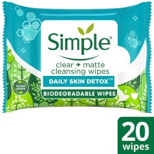 Simple Clear & Matte Cleansing Wipes X20