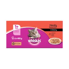 image 3 of Whiskas 1+ Cat Food Tins Mixed Variety in Gravy 6x400g