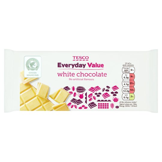 Tesco Everyday Value White Chocolate Bar 100G