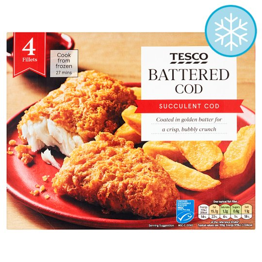 Tesco 4 Battered Cod Fillets 500G