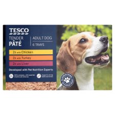 Tesco Tender Dog Food Pate 6 X300g