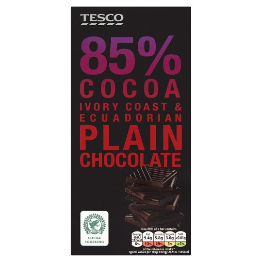 Tesco 85% Cocoa Plain Chocolate Bar 100G
