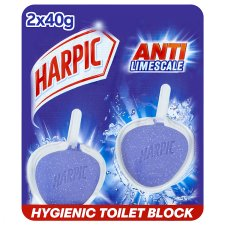 Harpic Hygienic Remover Toilet Block Limescale 2X40g