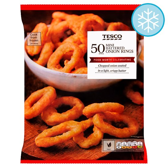 Tesco 50 Frozen Mini Battered  Onion Rings 425G