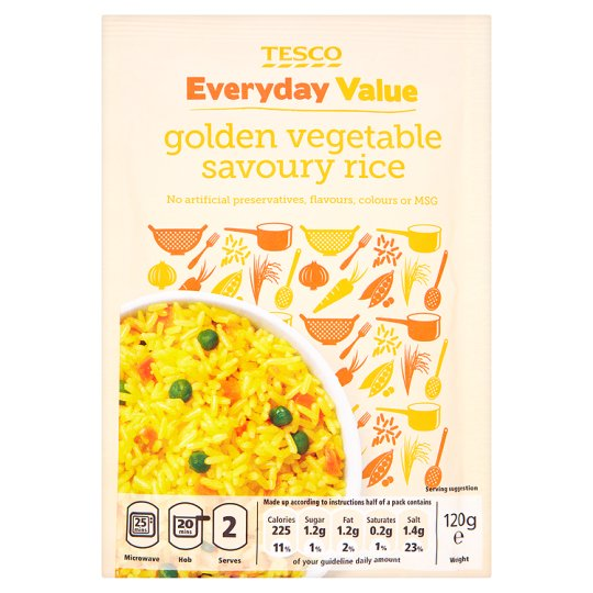 Tesco Everyday Value Golden Vegetable Savoury Rice 120G