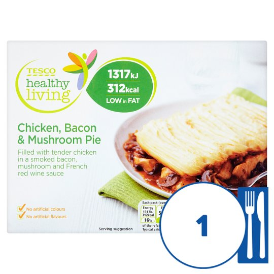 Tesco Healthy Living Chicken, Mushroom And Bacon Pie 390G ...
