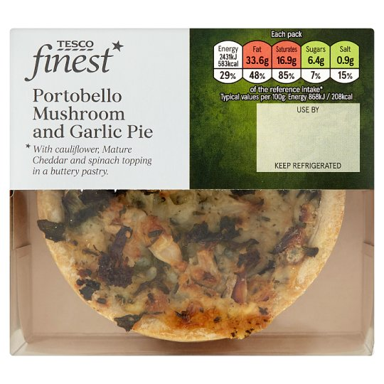 Tesco Finest Mushroom And Garlic Pie 280G