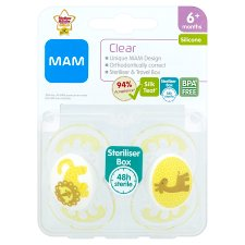 Mam Clear Silicone Soother X2