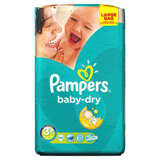 Pampers Baby Dry Size 3+ Large Pack 68 Nappies