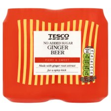 Tesco No Added Sugar Ginger Beer 4 X 330Ml