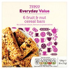 Tesco Everyday Value Fruit And Nut Cereal Bars 6 Pack 126G