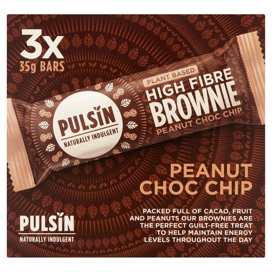 Pulsin Peanut Raw Chocolate Chip Brownie 105G