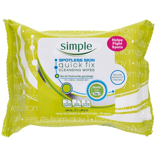 Simple Spotless Skin Cleansing Face Wipes 25 Pack