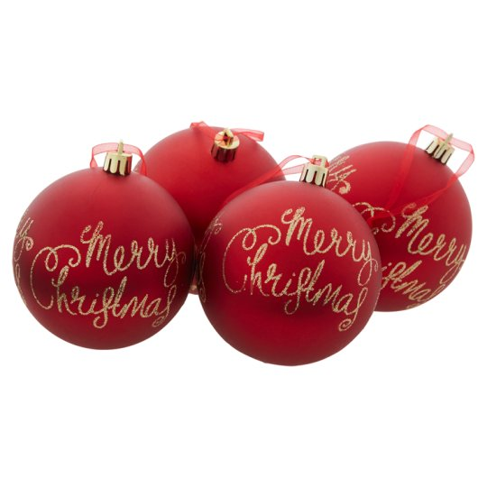 Tesco Red Merry Christmas Bauble Decorations 4 Pack