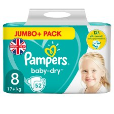Pampers Baby Dry Size 8 Jumbo+ 52 Nappies