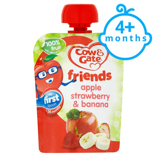 Cow & Gate Apple Strawberry And Banana Fruit Pouch 80G 4 Mth+