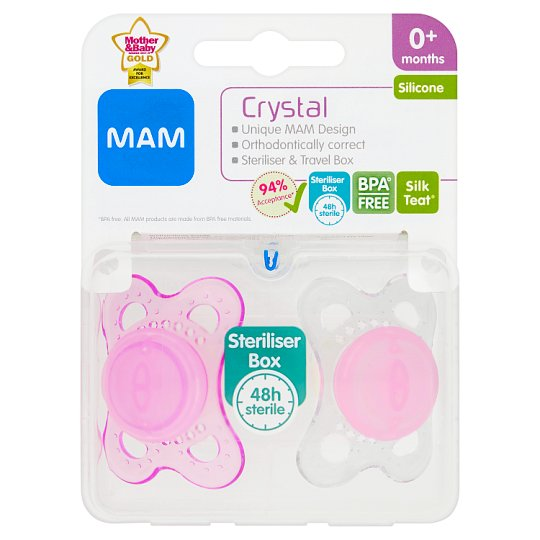 Mam 0+ Months Mini Crystal Silicone Soothers X2