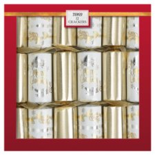 Tesco Gold Dinner Party Crackers 12 Pack