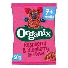 Organix 7 Month Rice Cakes Raspberry And Blueberry 50G