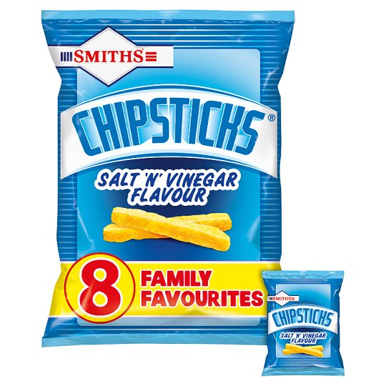Walkers Chipsticks Salt And Vinegar Snacks 8 X17g