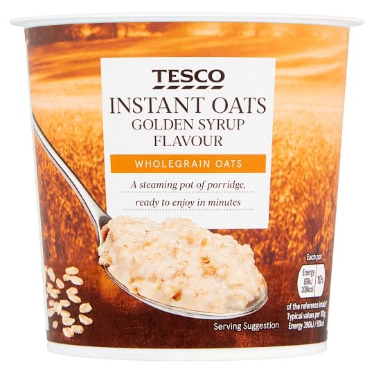 Tesco Instant Oats Prdge Pot Golden Syrup 55G