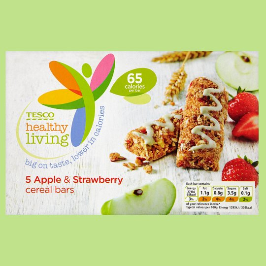 Tesco Healthy Living 5 Apple & Strawberry Cereal Bars 105G