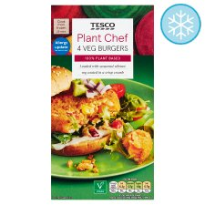 Tesco Plant Chef 4 Vegetable Burgers 454G