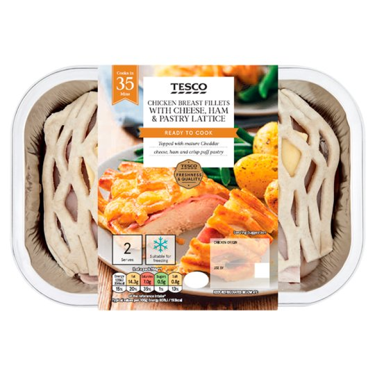 Tesco Cheese, Ham And Pastry Chicken Breasts 2 Pack 386G