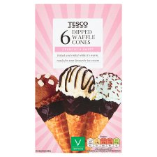 Tesco Dipped Waffle Cones 6 Pack